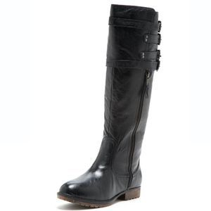 Steve Madden Black Mikel Leather Buckle Flat Boot